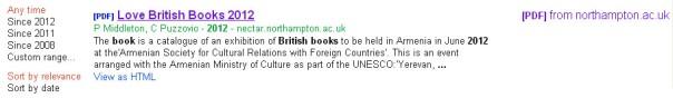 Love British Books 2012 in Google Scholar