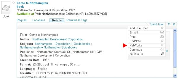 NELSON's RefWorks export option