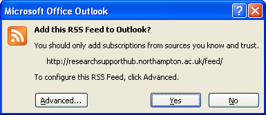 Confirming a new RSS feed in Outlook