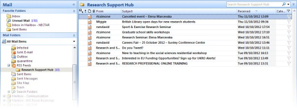 Viewing Research Support Hub in Outlook