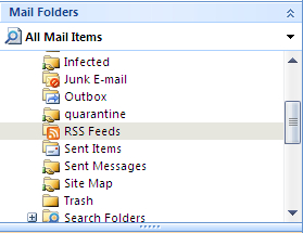 RSS folder in Outlook