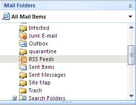 RSS folder in Outlook
