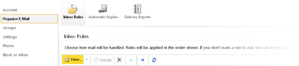 Creating a new rule in Outlook