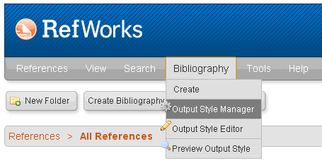 Output Style Manager in the main RefWorks menu