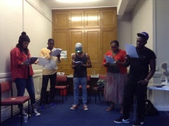 The cast rehearsing  'Such a Long Journey'