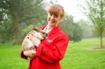 Clare Ellis & Rex cross rabbit. Photo: Learning Materials team at Moulton College.