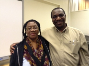 Visiting Professor Victor Ukaegbu with a member of the Northampton Black History Association