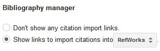 Scholar bibliographic manager settings