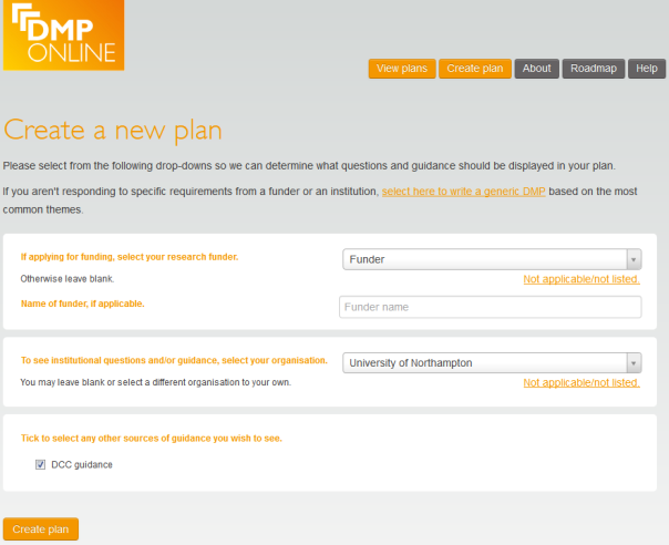 DMPonline Create plan options