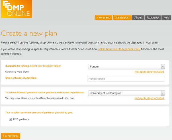 DMPonline Create plan options