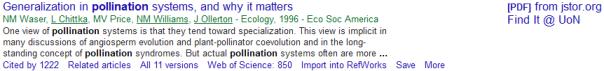 pollination Google Scholar