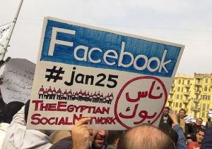 Egyptian protests Facebook sign