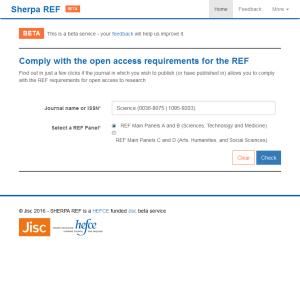 SHERPA REF screen shot